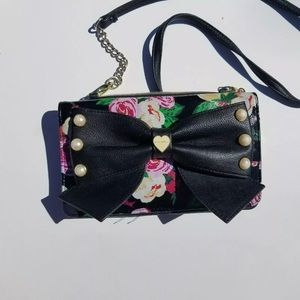 Betsey Johnson Black bow wallet crossbody purse